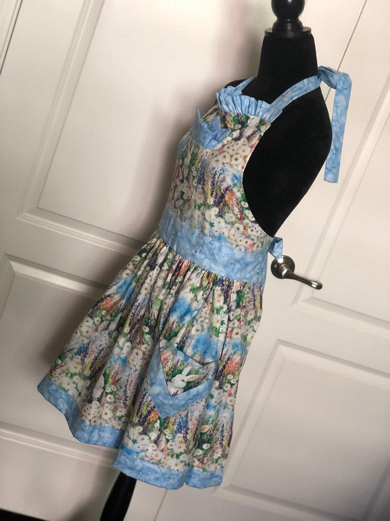 Sky Blue Bunnies Vintage Styled Apron