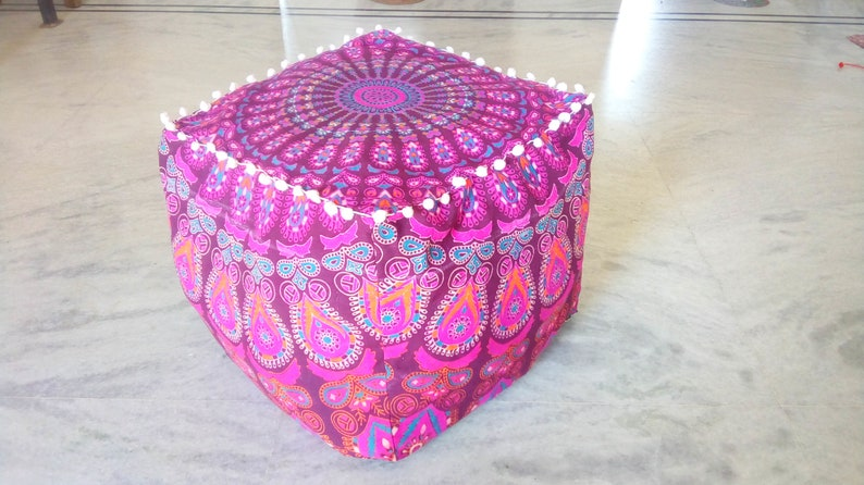 Furniture Large Ombre Mandala Ottoman Pouf Ethnic Round Pouf Footstool Floor Pouf Cover And To Have A Long Life.