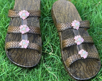3c9ac14a9760 Brown Pearl Blossoms Jandals® - Pali Hawaii Sandals--Rhinestone Crystal  Sandals