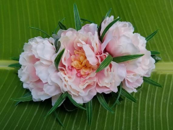 Triple Pink Peony Hawaiian Flower Hair Clip Tropical Hair Etsy