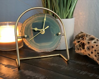 Colored Agate Clock with Gold Clock Hands Mounted on a Gold Stand | Agate Clock | Great Gift