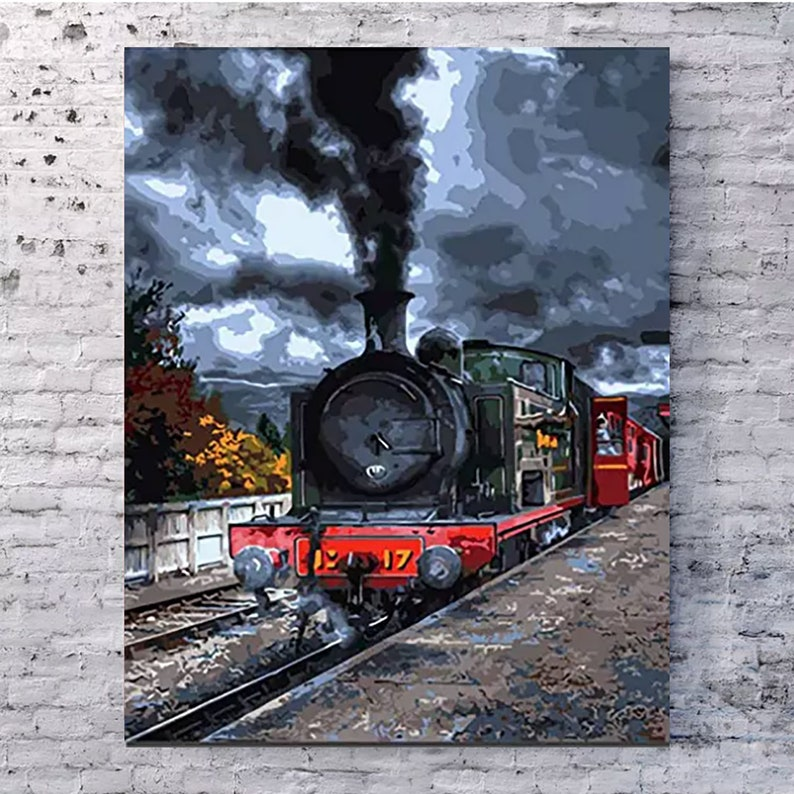 Steam Train Paint by Numbers, Vintage PBN Kit, Frameless