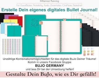 Digitales Bullet Journal Baukasten   Extended Paket   Cover, Spiralbindungen, Lineaturen, Keynote Template   Inklusive Tutorial