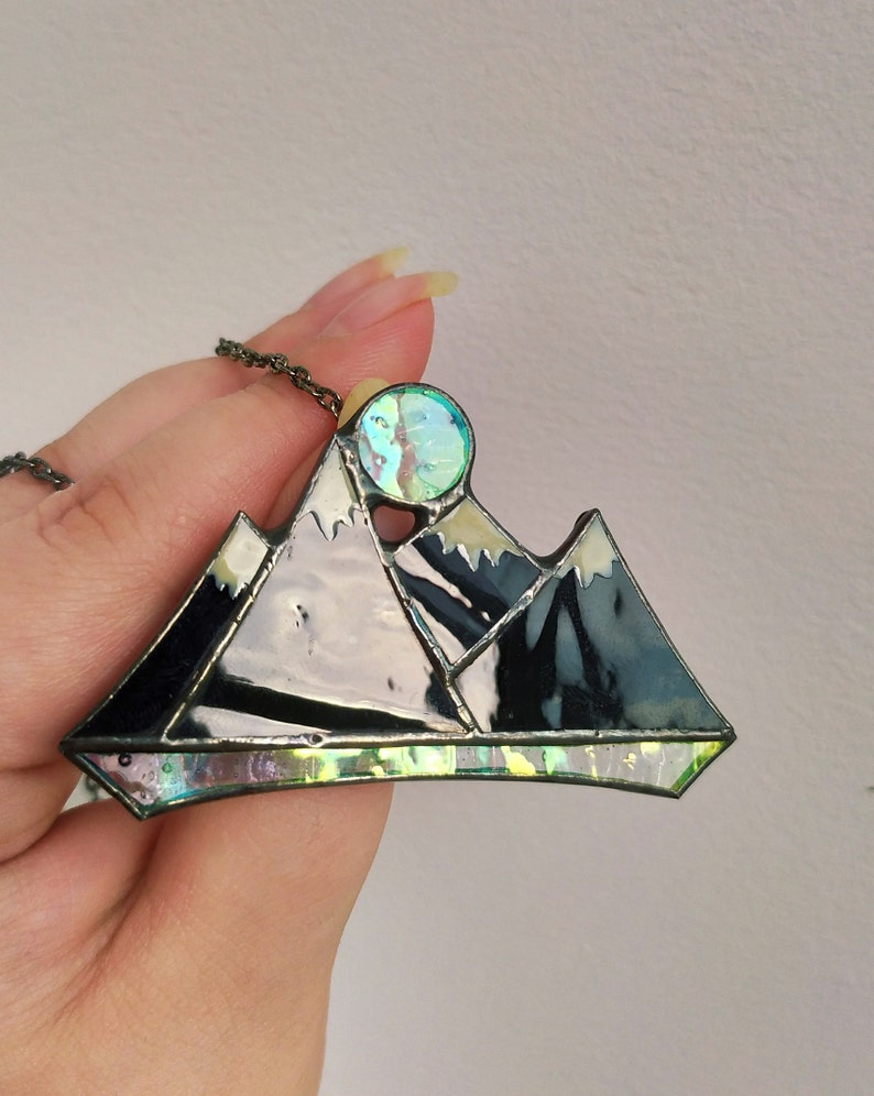 Mountain necklace Stained glass jewelry Mountain range pendant,Travel jewellery Hiking necklace Mountain jewelry Gift for mountain lovers