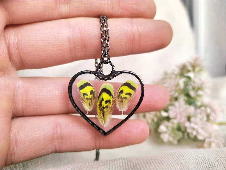 Real feather necklace Stained glass hart pendant Yellow bird feather Terrarium feather necklace Mother/'s day gift,Soldered glass Cute gift
