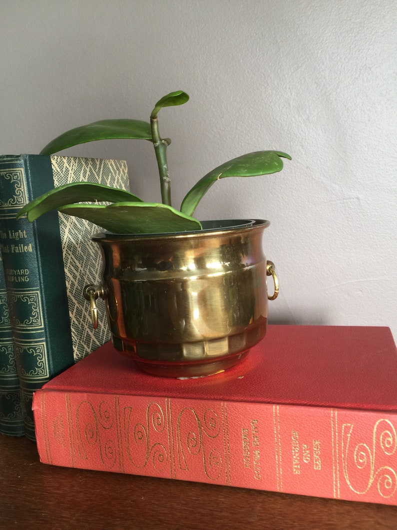 Vintage MCM Brass PalePotBucketIce ChestVessel Planter With Brass Handles Design