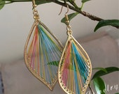Embroidered Earrings,Earrings For Women, Silk Thread,Oriental ,Gold ,Rainbow,Handmade, Dangle Drop Earring ,Leaf-shaped (EE106)