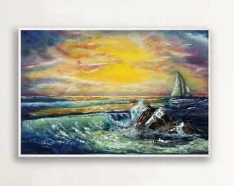 Sunset - Original Oil Painting on Canvas, Ocean Painting, Sea Painting, Impressionist Art