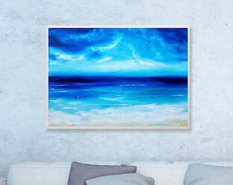 Sea Maldives - Original Oil Painting, Ocean Painting, Art Painting, Sea, Tropical Painting, Impressionist Art