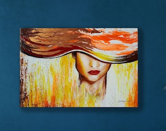 Lady- Limited Edition, Original Acrylic Painting, Modern abstract painting, Portraits,  Abstract Wall Art,