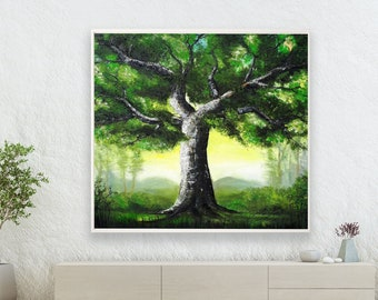 The Heart of the Forest /Power of the Oak-Limited Edition, Original Oil Painting, Nature, Landscape painting, Painting by Helena Šircelj