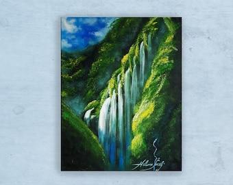 Waterfall - Madakaripura Indonesia, Original Oil Painting, Landscape Tropical Painting, Impressionist, Nature Art