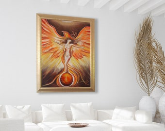 Phoenix- Rebirth - Limited Edition, Original Acrylic Painting, Abstract, Original Energy Painting, Yoga Art, Wall Art Decor