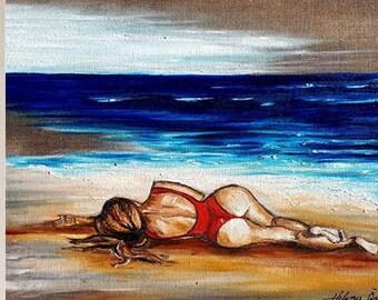 Beach - Original Oil painting, Sea painting, Ocea Painting, Wall Decor, Waves, Beach, Tropical