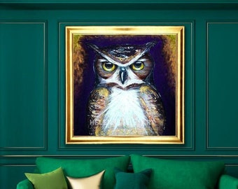 Owl - Limited Edition, Original Acrylic Painting, Wisdom, Animal Painting, Wild Nature, Animals Portrait, Wall Art Painting