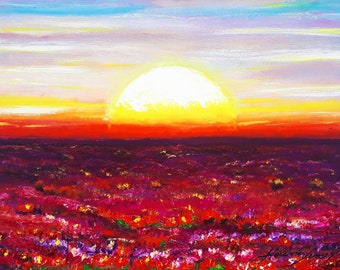 Sunset Magical Flowers - Original Oil Painting, Flovers, Painting, Landscape, Impressionist Art, Painting by Helena Šircelj