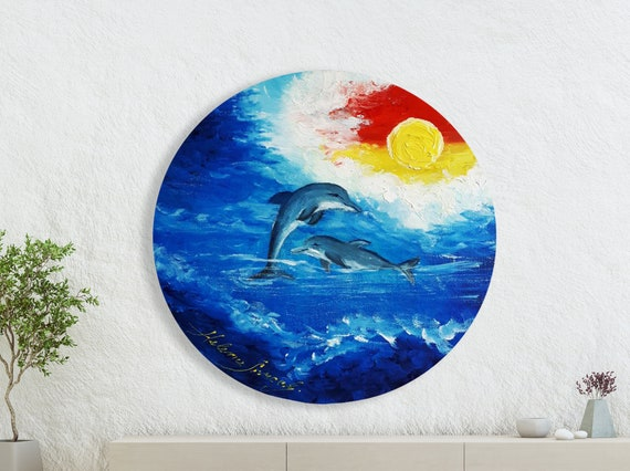 Dolphins Oil Paintings /Delfini Jadrana / Original Oil Etsy
