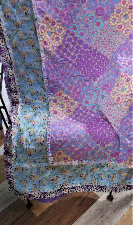 PURPLE Quilt KAFFE FASSITT Lavender Lap Rag Quilt Custom Handmade Cotton 60» x 62» Comforter