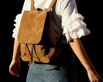 26ef94e129 Brown suede backpack