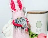 Easter Gnome Bunny Decor Gift Basket, Nordic felt Pink gnome