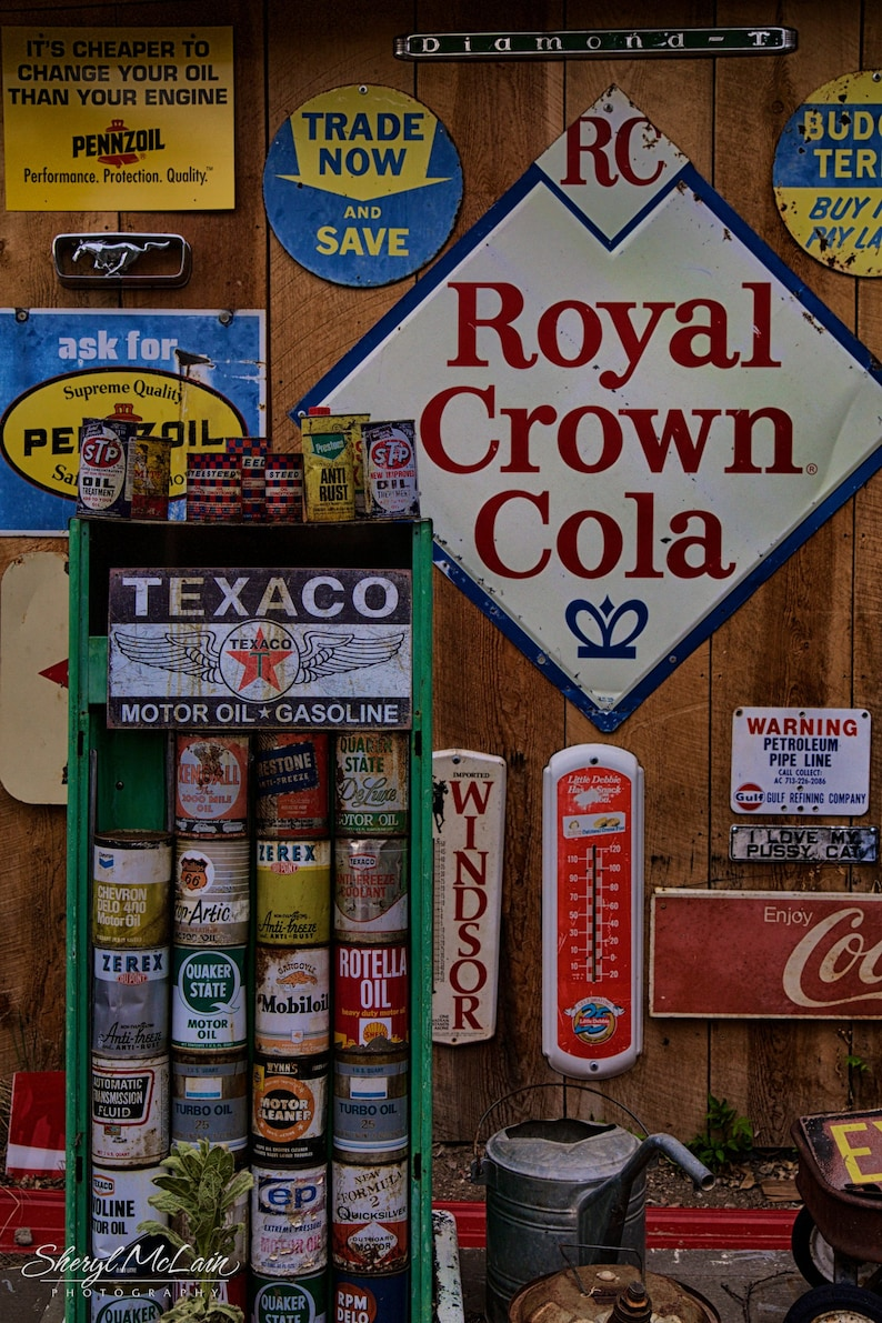 Vintage Service Station Signs and Oil Cans