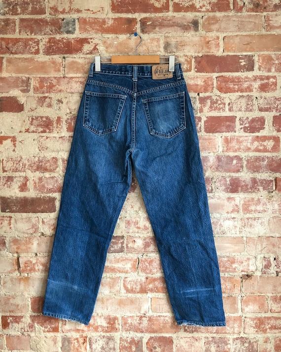60/% BIG XMAS SALE Vintage 90s Gap Jeans Dark Blue Jean Front Split High Waisted Fitted Pencil Knee Length Minimal Denim Skirt Sz 4 Small