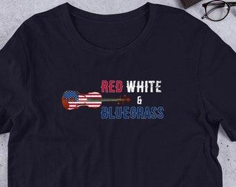 b4a09842 Bluegrass Fiddle Patriotic Bluegrass Music Bluegrass Short-Sleeve Unisex T- Shirt