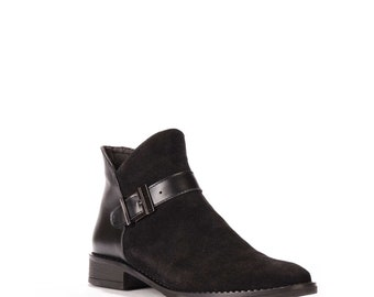179cf22015f Black Suede Boots for Women ~ Chunky Heel Boots ~ Ankle Boots ~ Zippered  Boots ~ Boots with Buckle ~ Casual Boots ~ School Shoes