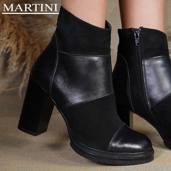 Women Boots Black High Heel Ankle Boots