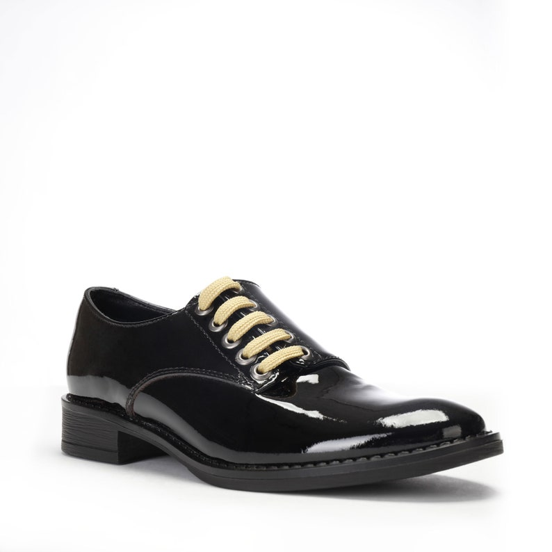 6b937590b0d52 Black Oxford Shoes ~ Patent Leather Saddle Shoes ~ Shiny Women's Flats ~  Dress Shoes for the Office ~ Chunky Low Heels for Ladies