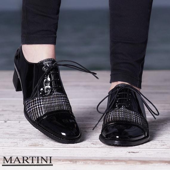 Black Oxford Shoes Saddle Shoes Lace