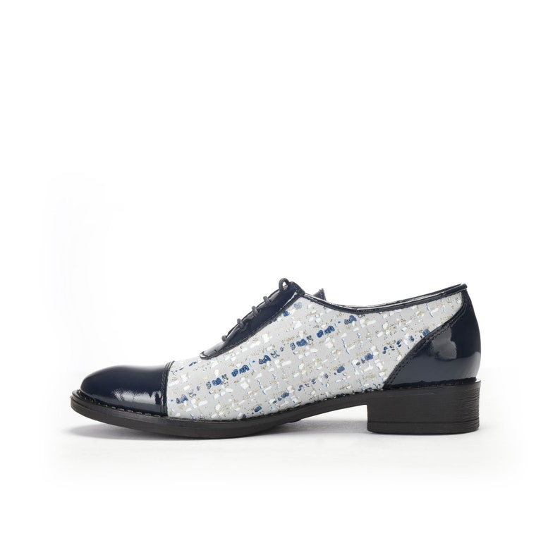 e8a2c7fb8b97a Shiny Blue and White Oxford Shoes ~ Saddle Shoes for Women ~ Lace Up Tie ~  Leather Shoes with Low Heel ~ Chunky Heels for Ladies