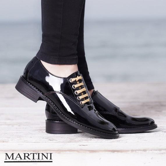 Women Shoes Black Oxford Shoes Genuine