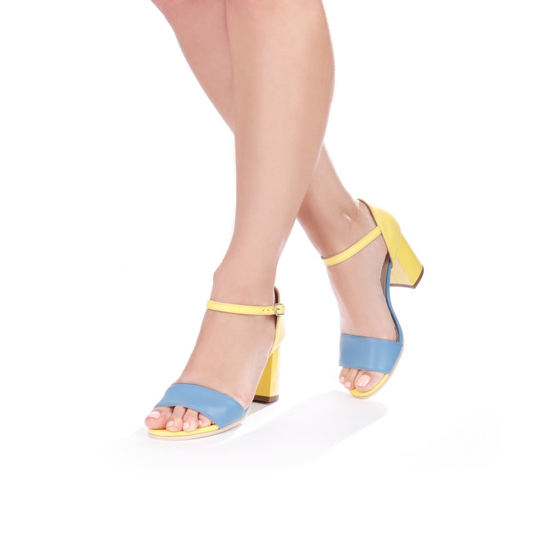 Women Shoes ~ Strappy Sandals ~ Yellow and Blue Sandals for Women ~ Open Toe Sandals ~ Chunky Heel Shoes ~