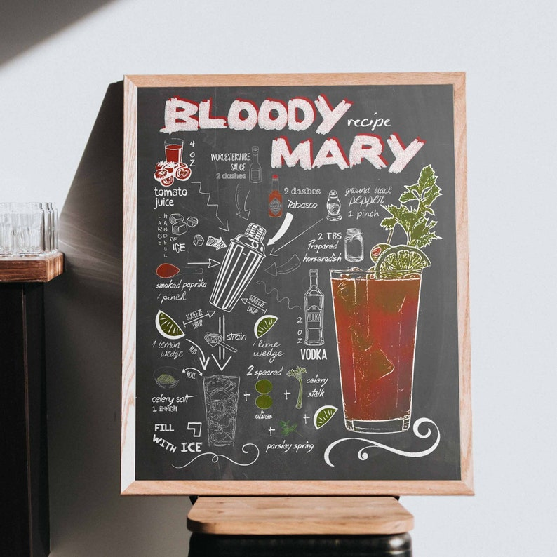Bloody Mary Recipe Chalkboard Cocktail Printable Bar Sign Etsy