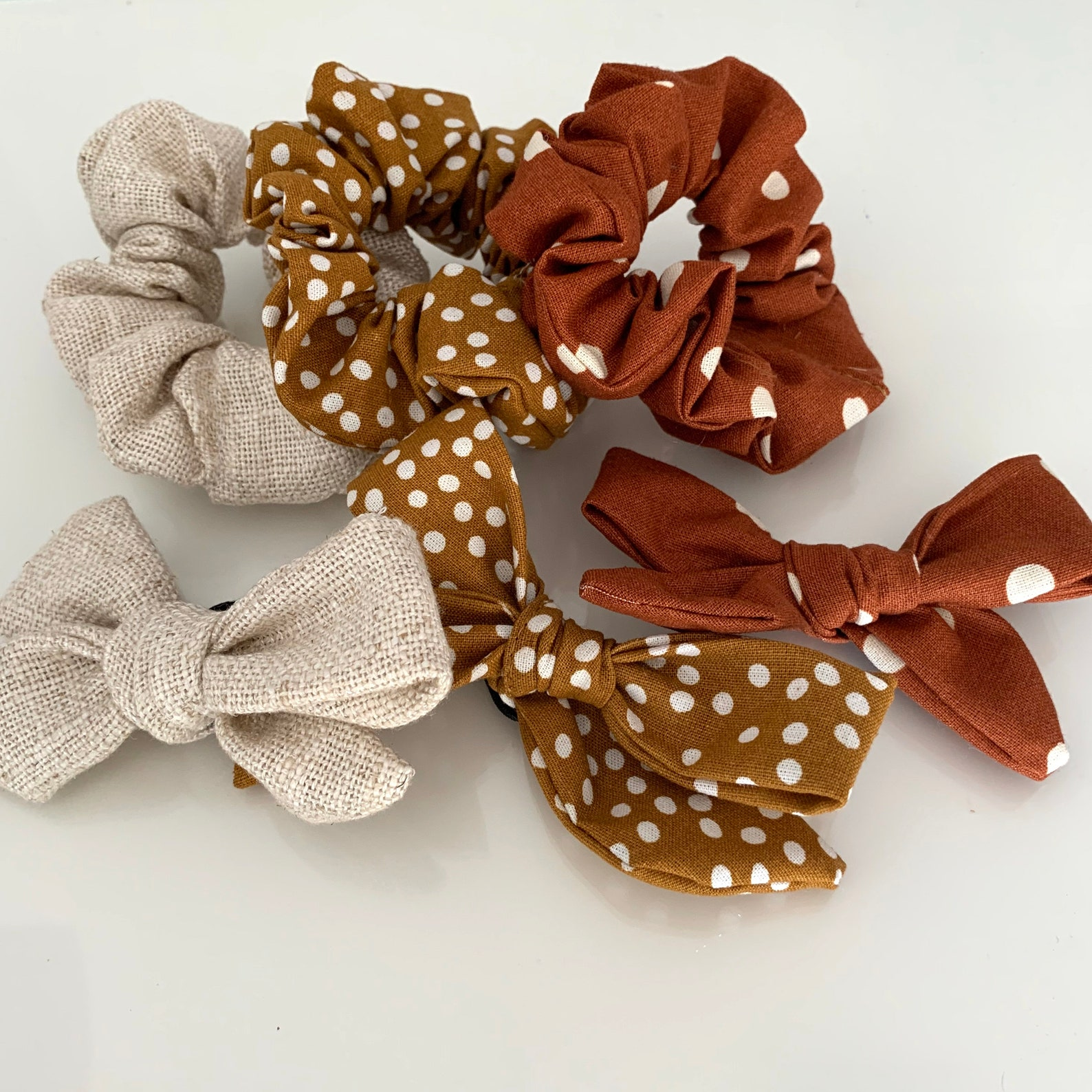 Matching bow tie and scrunchie sets