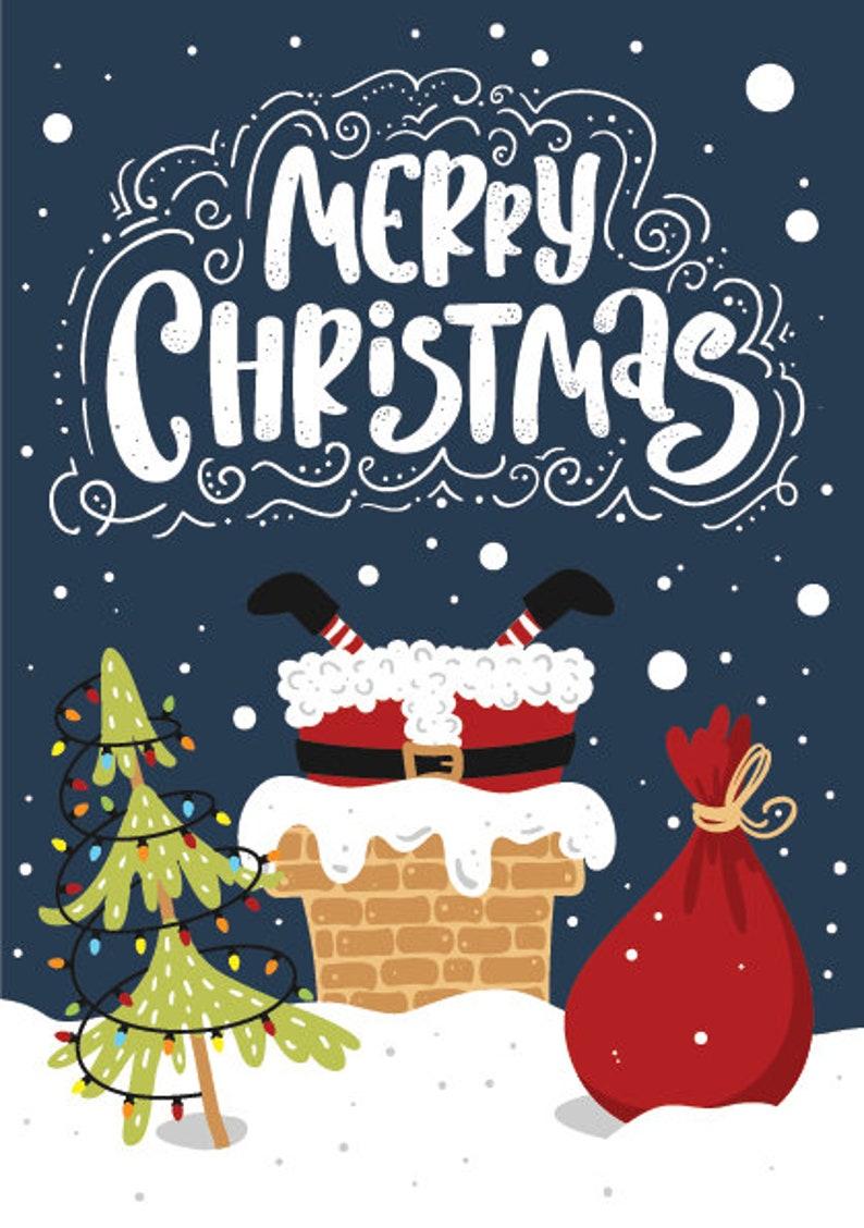 Santa Claus Christmas Card  Printable Xmas Cards with Blue image 0