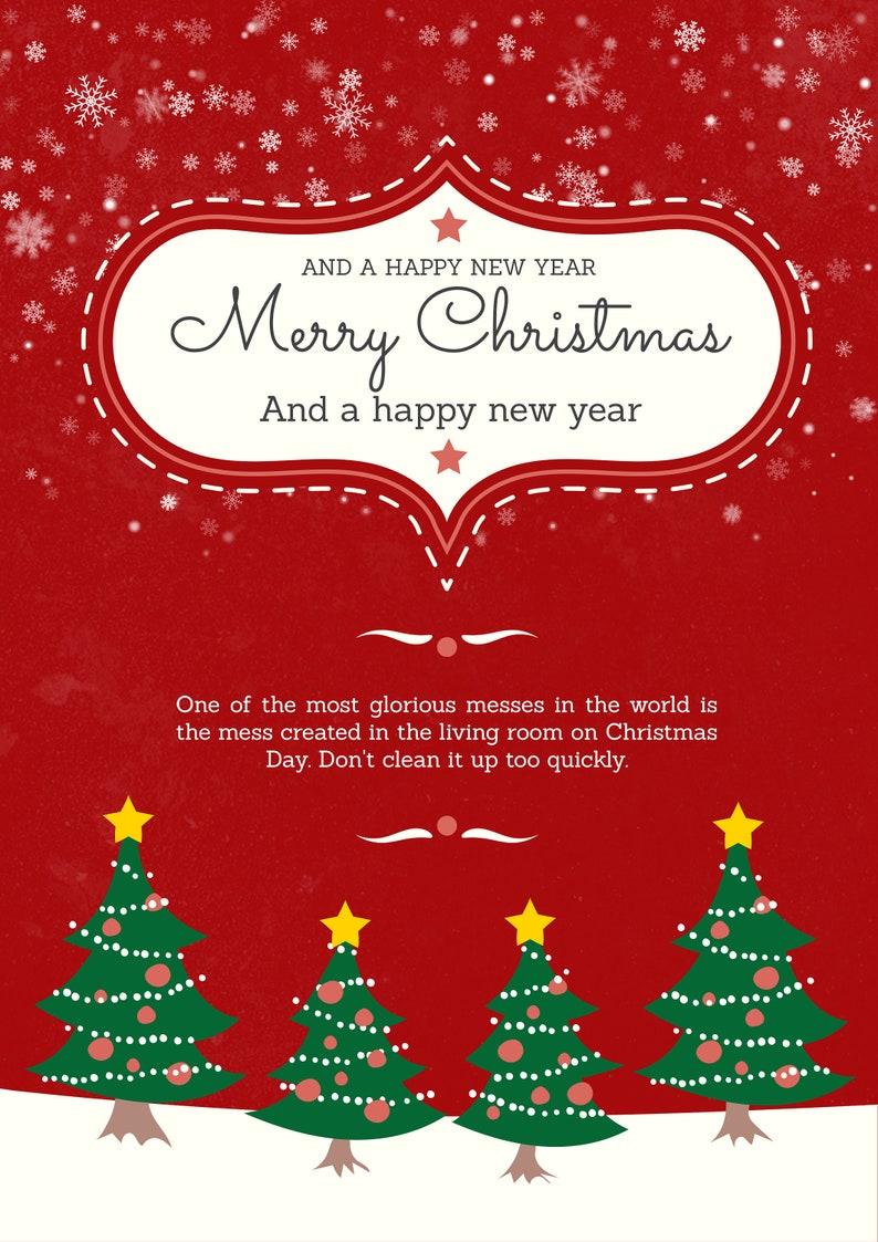Printable Christmas Card  Red Non Photo Christmas Card That image 0