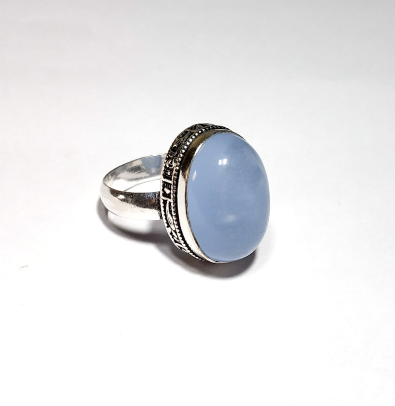 silver plated ring party wear cute look ring easter gift designer jewelry ring Blue chalcedony ring jewelry gift for mother/'s day