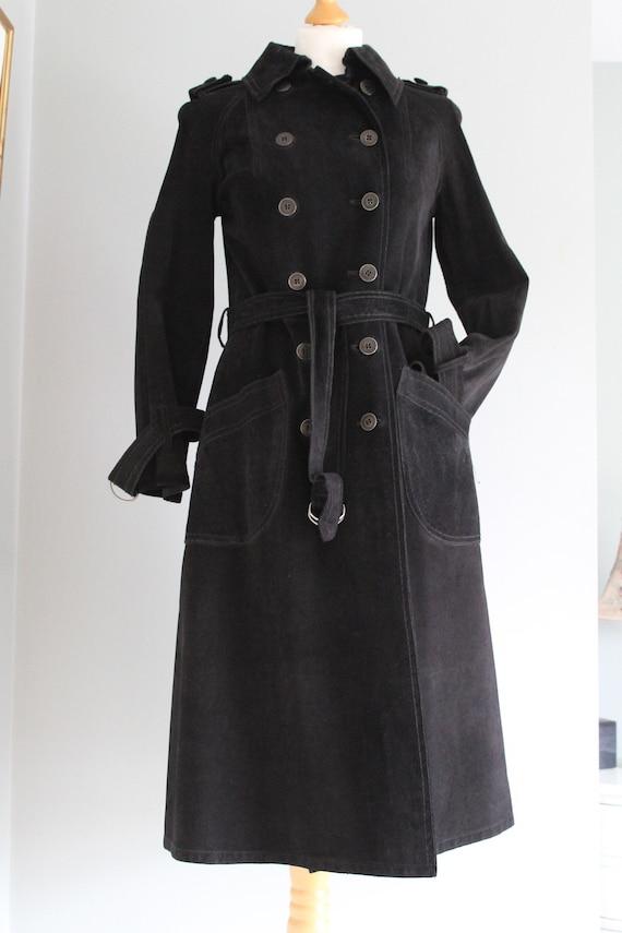 Vintage Baccarat - Black Suede Trench Coat
