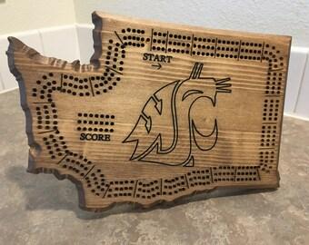 Washington State Cribbage Board (WSU Logo)