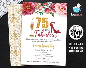 75th Women Birthday Invitation Gold Flowers