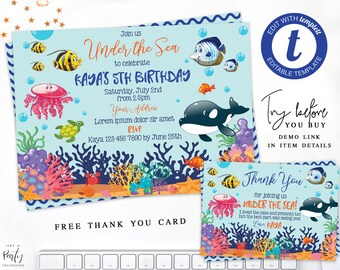 Instant Download Under The Sea Invite Birthday Invitation Underwater Invitations Fish Themed