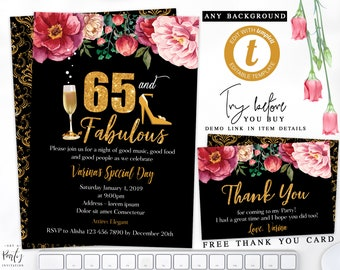 65th Women Birthday Invitation Gold Flowers
