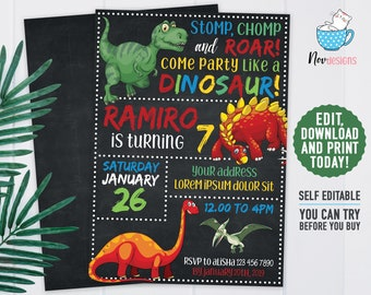 Instant Download Edit Yourself Dinosaur Birthday Invitation Party Chalkboard