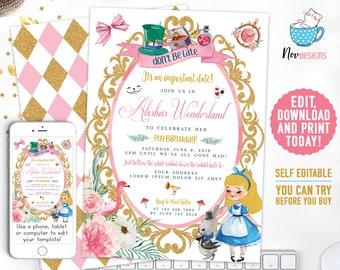 Alice In Wonderland Invitation Etsy
