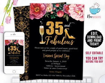 35th Women Birthday Invitation Gold Flowers
