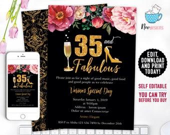 35th Women Birthday Invitation Gold Flowers