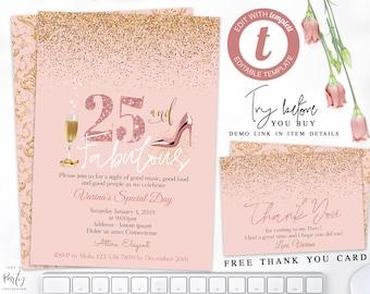 25th Women Birthday Invitation Rose Gold Elegant Invite
