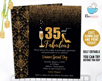 35th Women Birthday Invitation Gold Elegant Dots Invite